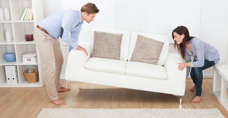 Передвижение различных предметов мебели